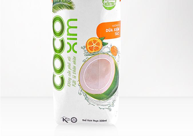 Nước dừa CoCoXim hương vị dừa xiêm tắc (trái quất) hộp 330ml