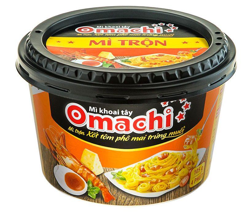 Mì khoai tây Omachi trộn xốt tôm phô mai trứng muối hộp 105g