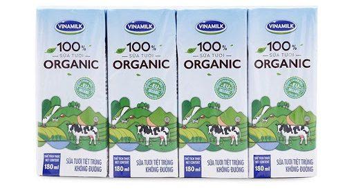 Sữa tươi tiệt trùng không đường 100 Organic Vinamilk lốc 4 hộp x 180ml