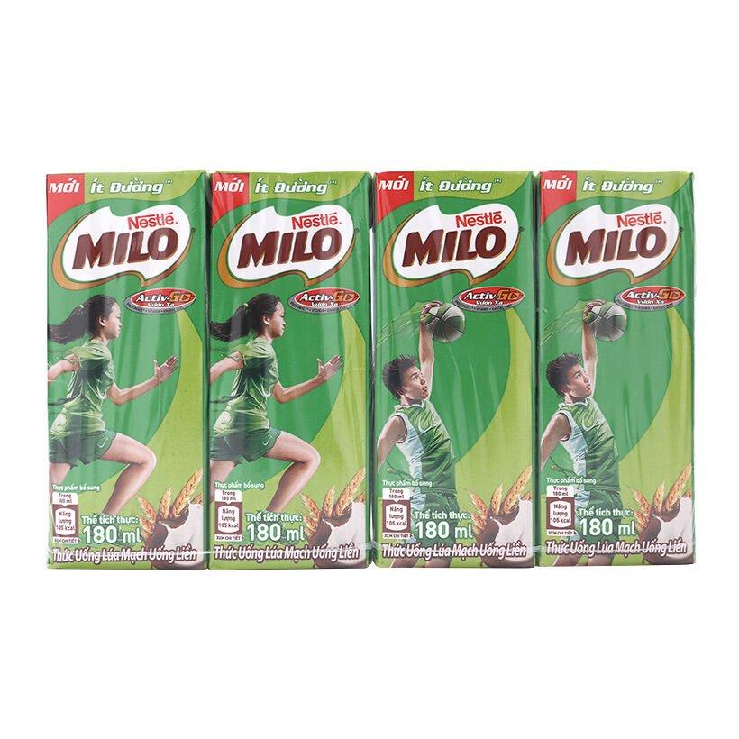 Sữa uống Milo ít đường Nestle lốc 4 hộp x 180ml