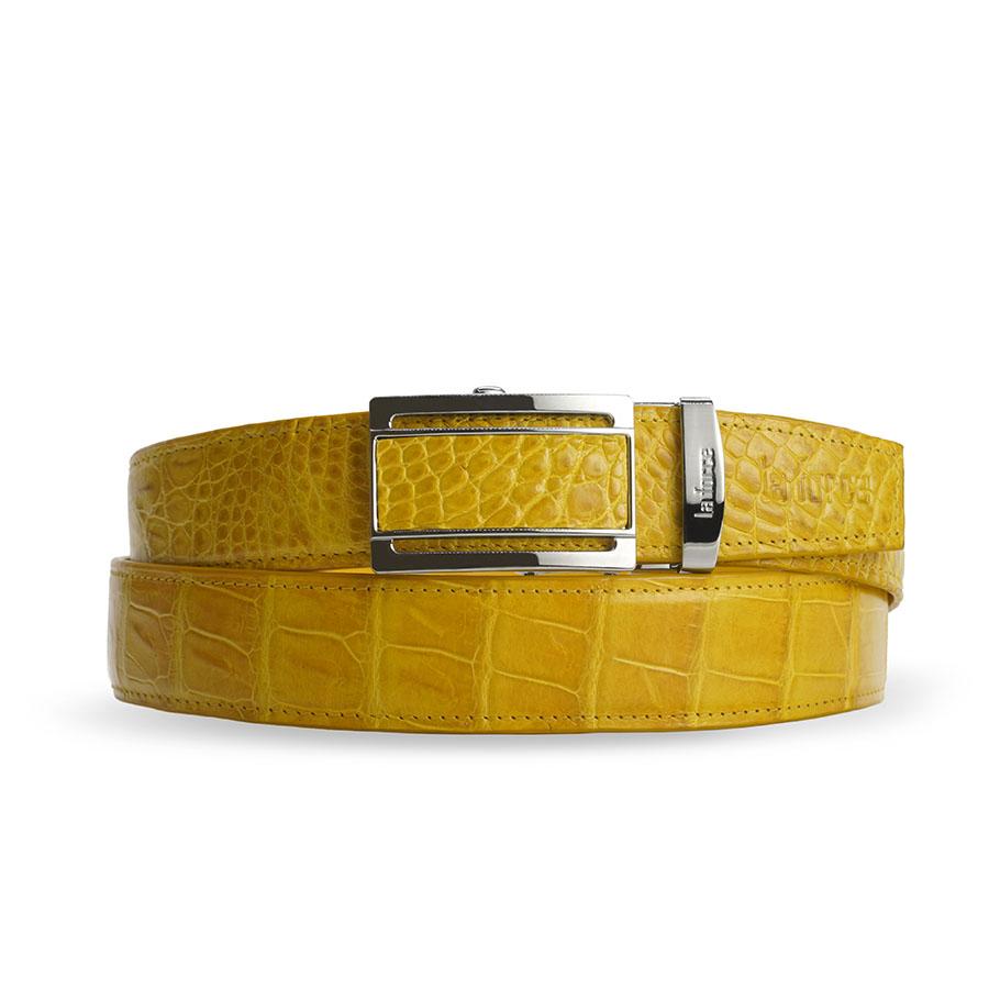 Dây lưng da cá sấu màu vàng DLA1200-02B-B-V