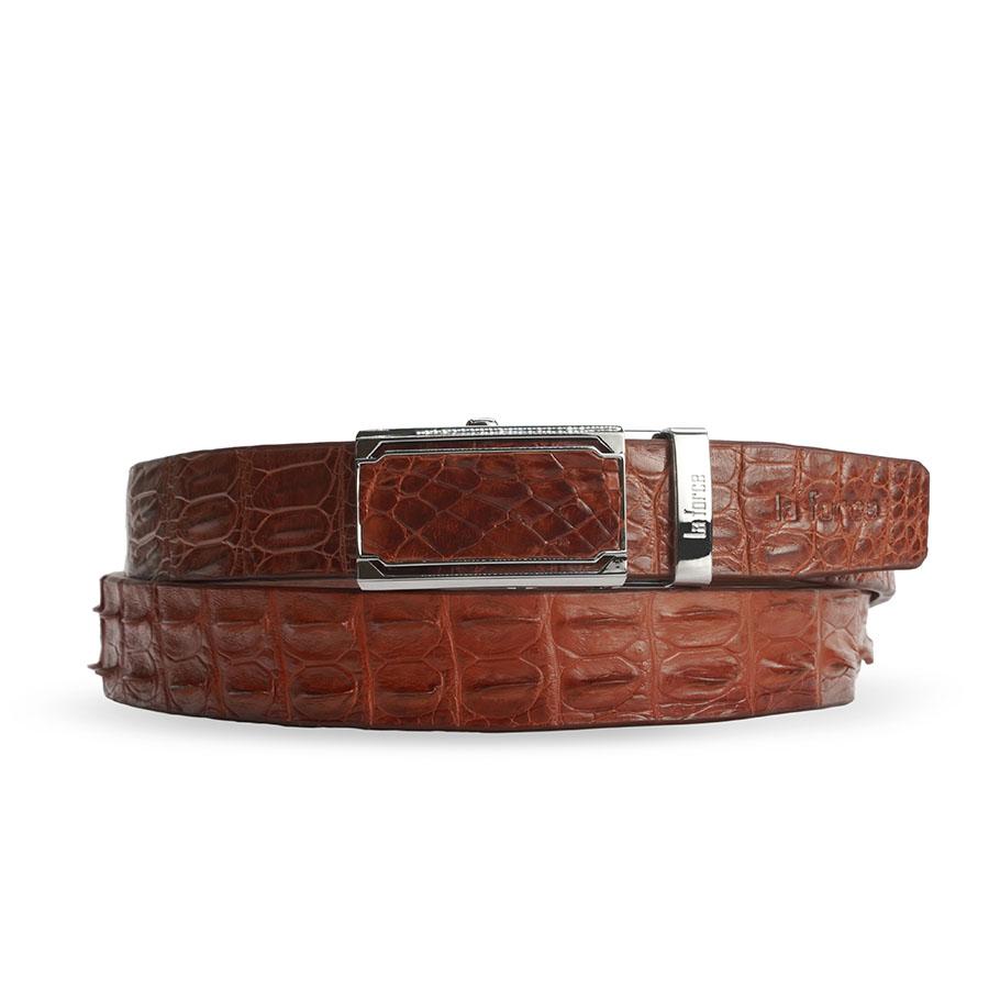 Dây lưng nam cá sấu màu nâu đỏ DLA1200-04B-LD-ND