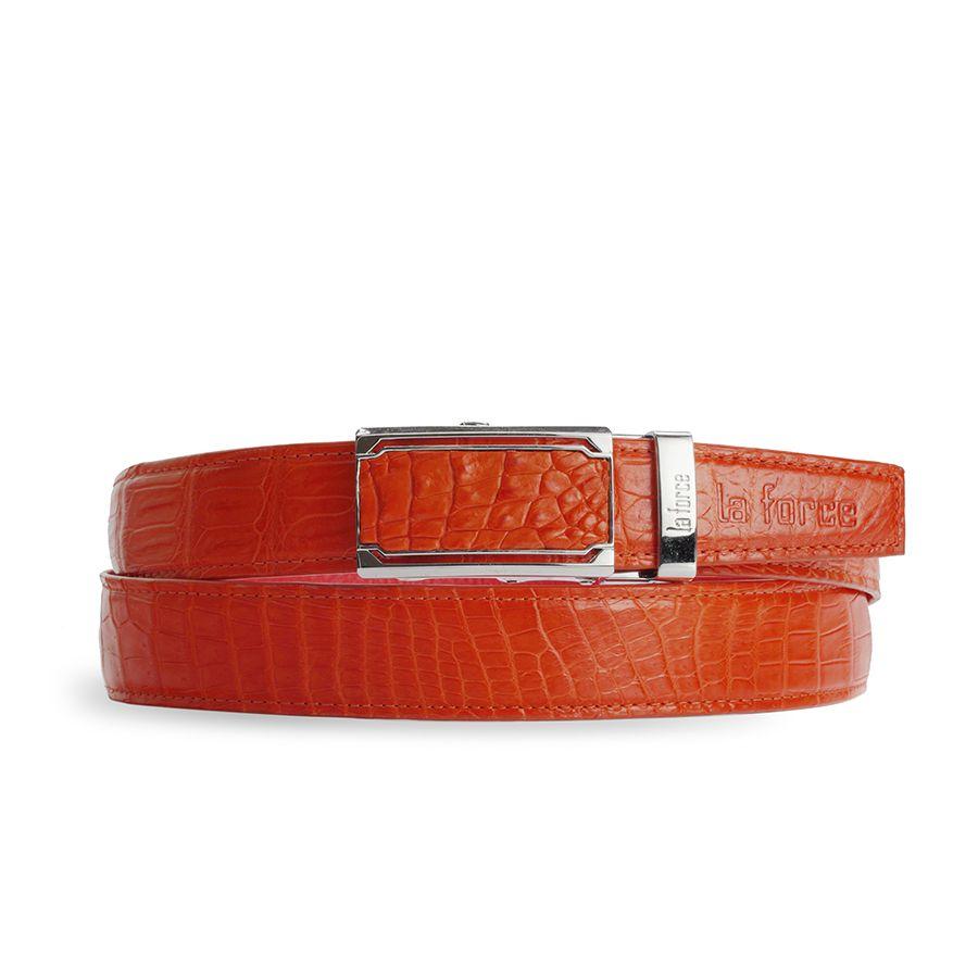 Dây lưng nam da cá sấu màu đỏ cam DLA1200-01B-B-DC