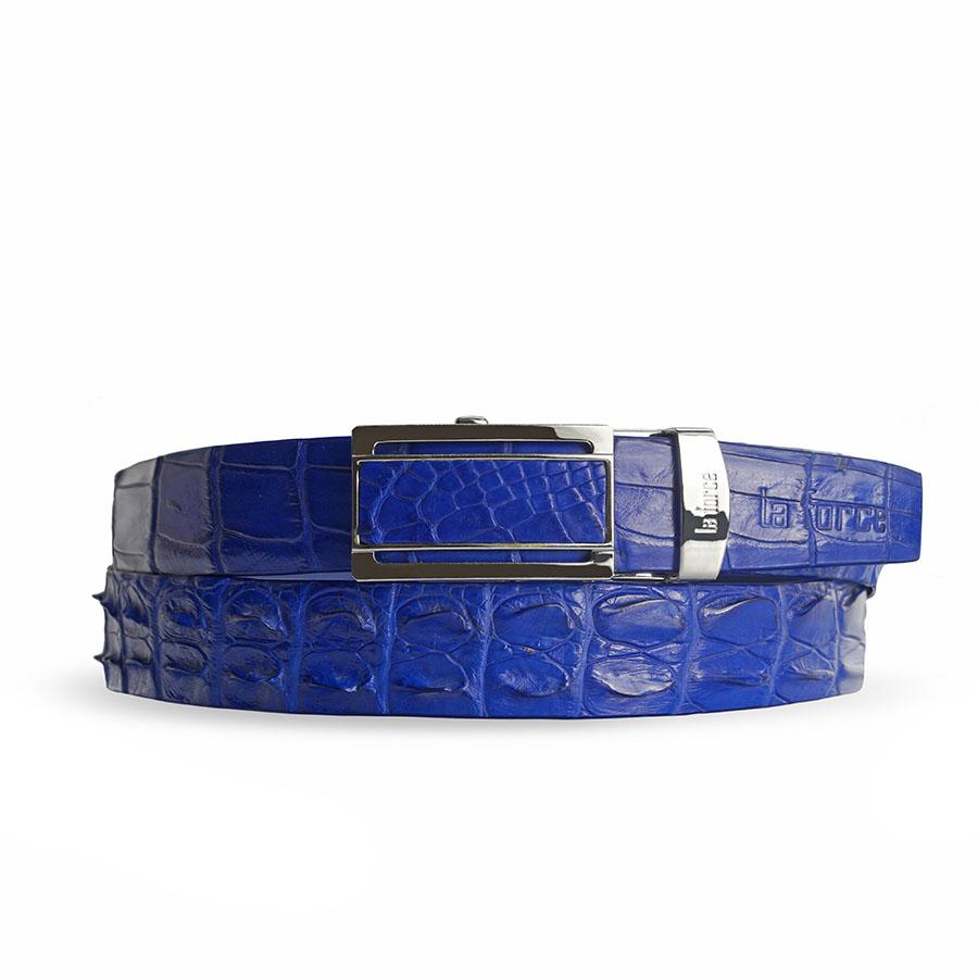Dây nịt da cá sấu xanh dương DLA1500-02B-G-XD