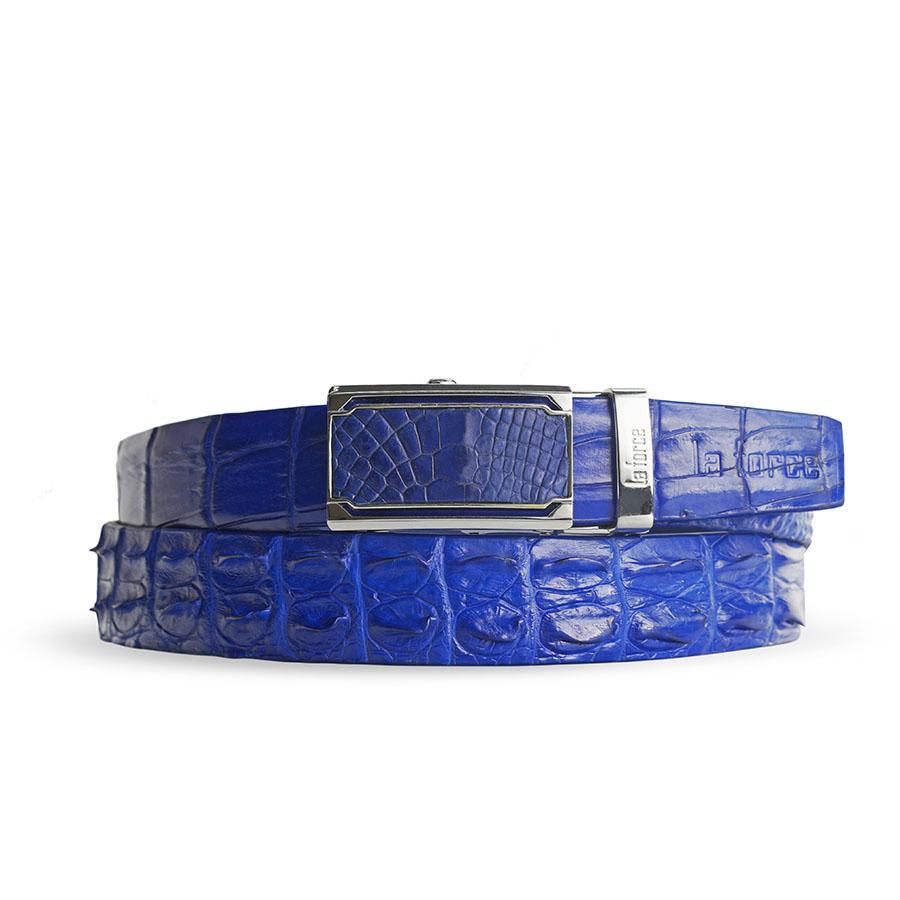 Dây nịt nam da cá sấu xanh dương DLA1500-04B-G-XD