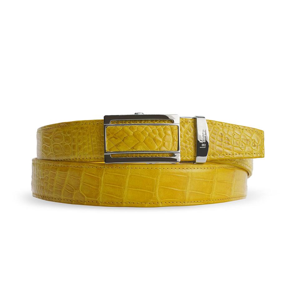 Dây thắt lưng cá sấu màu vàng DLA1200-02B-H-V