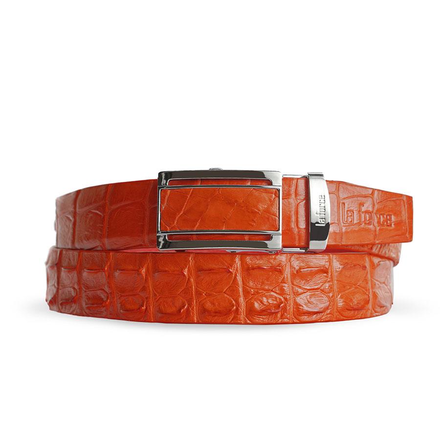 Thắt lưng cá sấu nam màu đỏ cam DLA1500-02B-G-DC