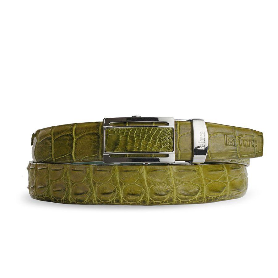 Thắt lưng da bụng cá sấu DLA1500-02B-G-XC