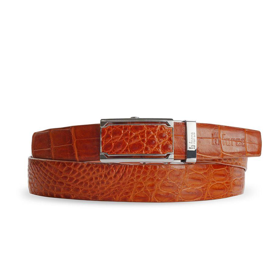 Thắt lưng da cá sấu màu nâu vàng DLA1200-04B-H-NV