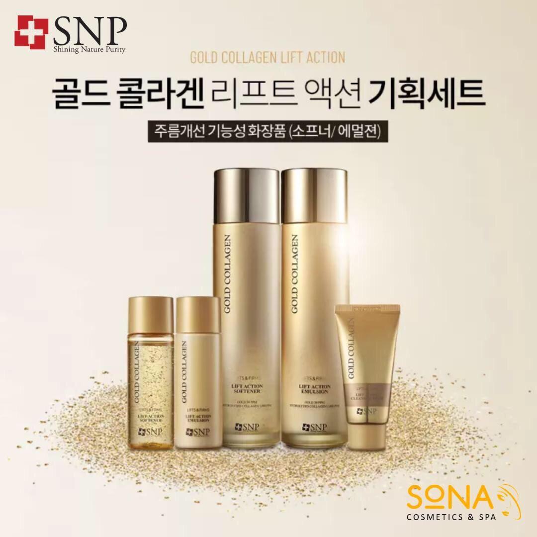Set dưỡng trắng nâng cơ SNP GOLD COLLAGEN LIFT ACTION SPECIAL.
