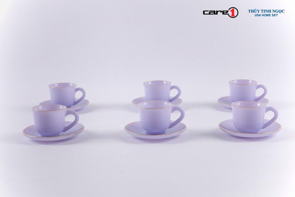 Bộ tách trà 12 chi tiết màu tím Thạch Anh