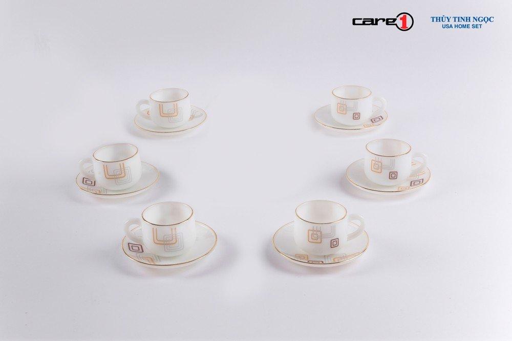 Bộ tách trà nhỏ 12 chi tiết dáng bầu họa tiết Hoa vuông