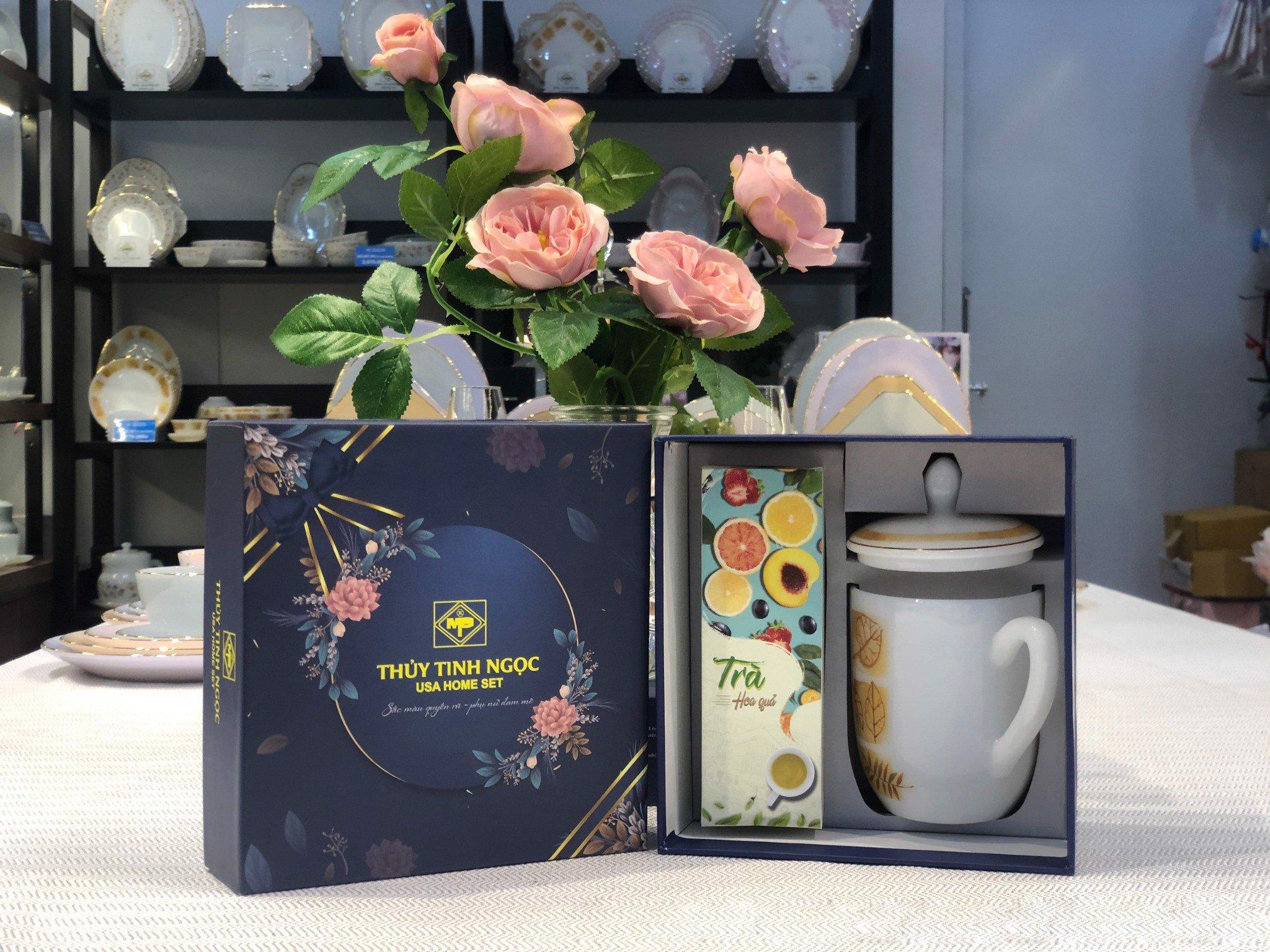 Bộ quà tặng ca trà kèm hộp trà,cafe hoa mùa thu