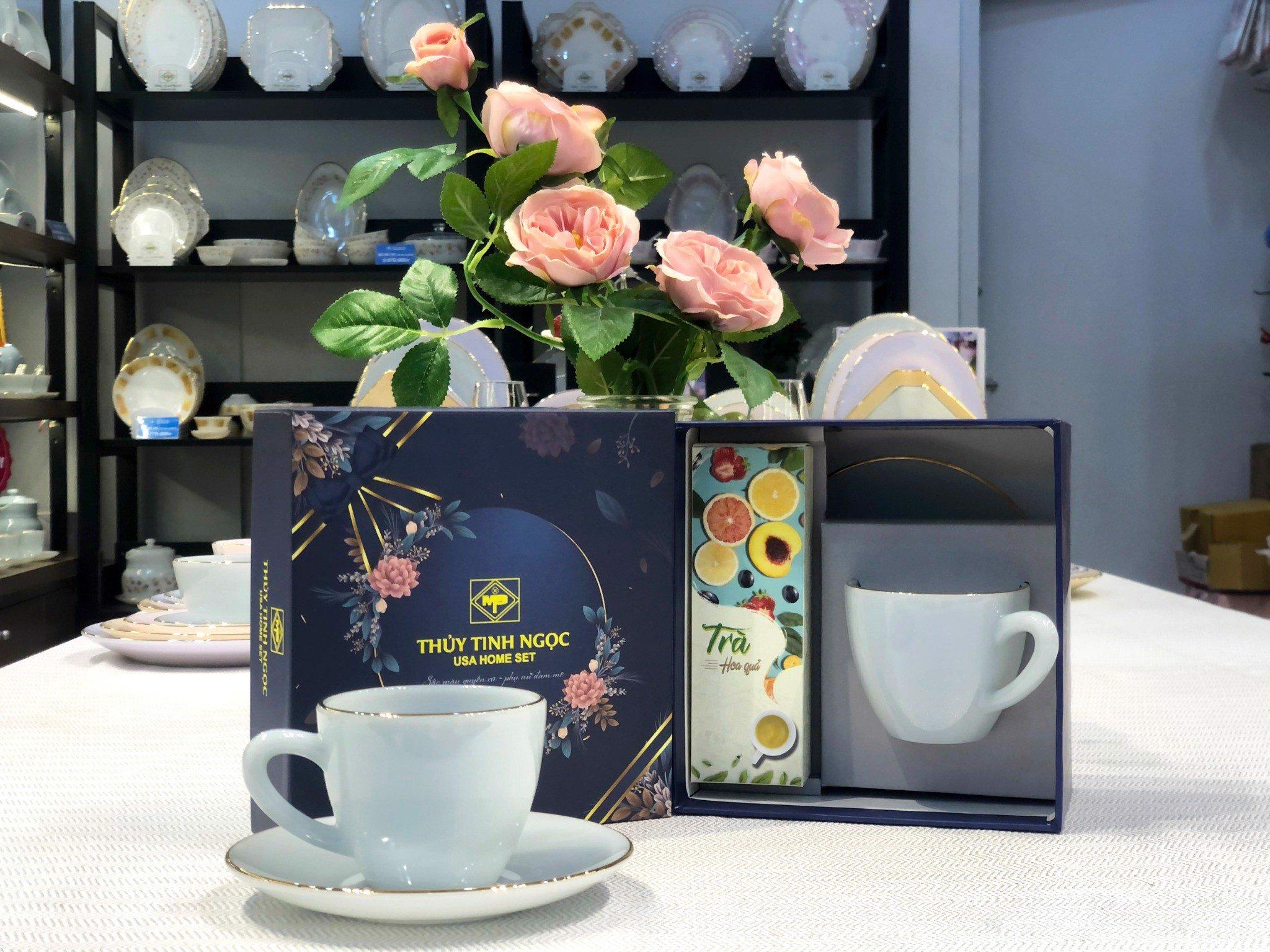 Bộ quà tặng đĩa tách kèm hộp trà, cafe Xanh biển Aquamarine
